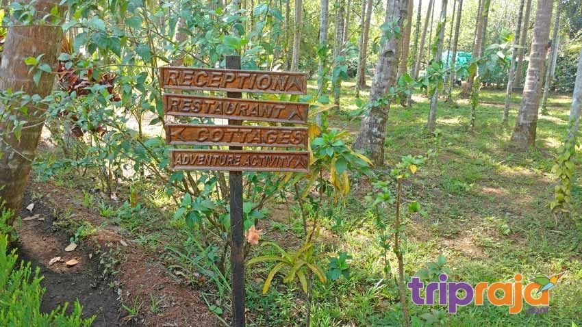 Wooden-sign-board-at-Natures-Nest-Resort---tripraja.com